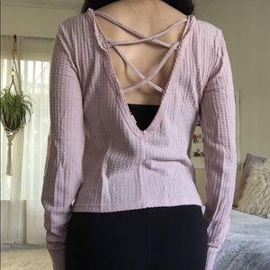 Pink Long Sleeve Criss Cross Top